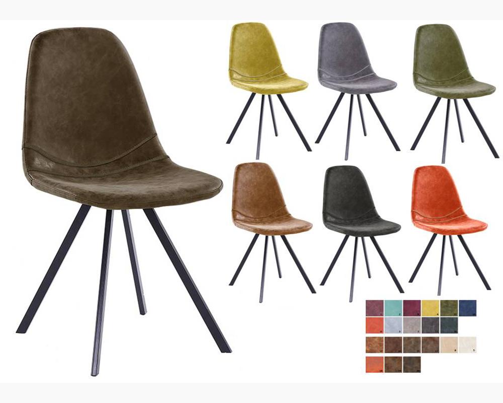 usine18 plateform3chaises scandinaves rembourres bd6008 et pu vintage pied metal noirs - Chaise Scandinave Pied Metal
